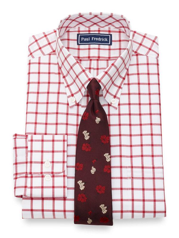 Pure Cotton Windowpane Button Cuff Dress Shirt