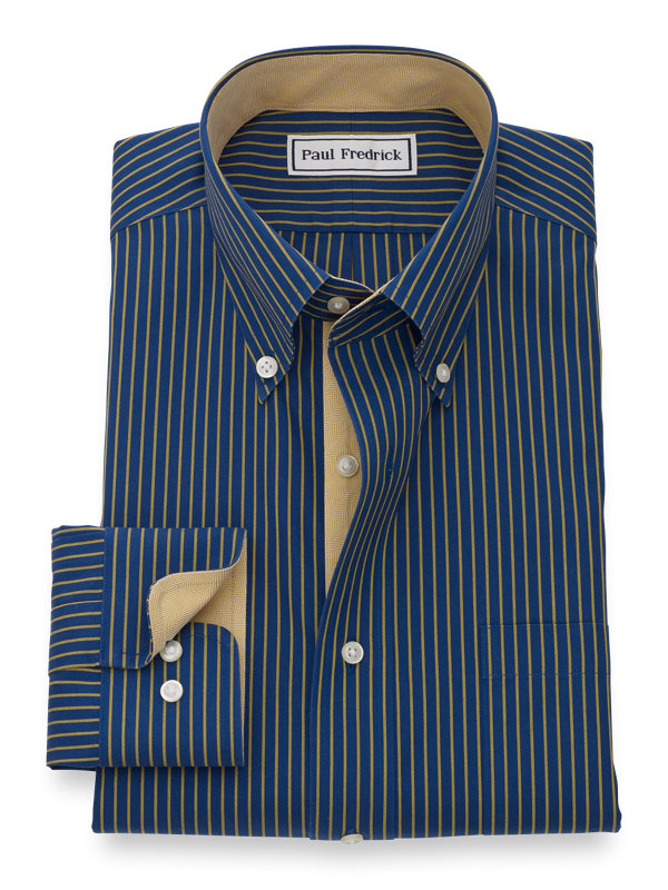 Slim Fit Non-Iron Cotton Broadcloth Glen Plaid Dress Shirt with Contrast Trim