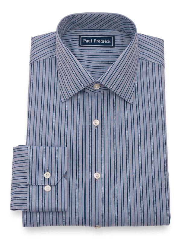 Pure Cotton Textured Stripe Button Cuff Dress Shirt