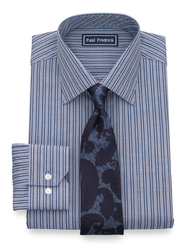 Slim Fit Pure Cotton Textured Stripe Button Cuff Dress Shirt
