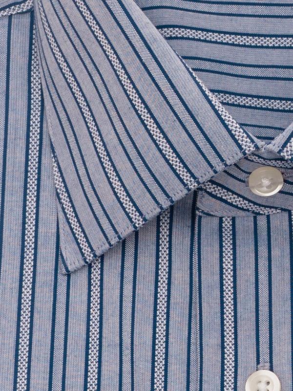 Slim Fit Pure Cotton Textured Stripe Button Cuff Dress Shirt