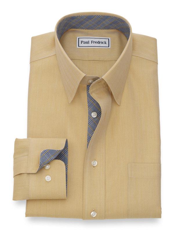 Non-Iron Cotton Herringbone Dress Shirt with Contrast Trim
