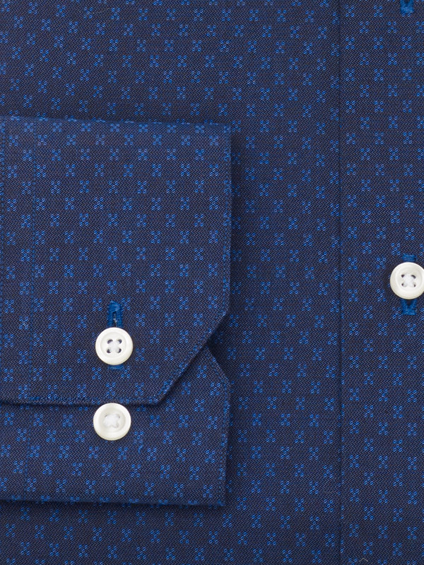 Slim Fit Pure Cotton Deco Pattern Button Cuff Dress Shirt