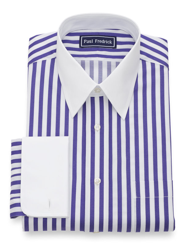 Pure Cotton Satin Stripe French Cuff Dress Shirt