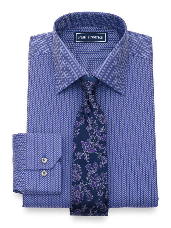 Pure Cotton Herringbone Button Cuff Dress Shirt