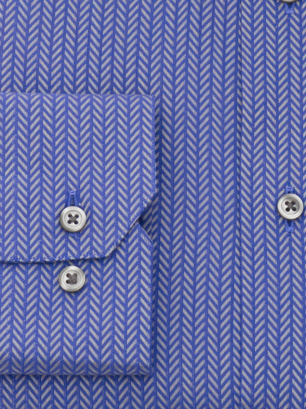 Slim Fit Pure Cotton Herringbone Button Cuff Dress Shirt