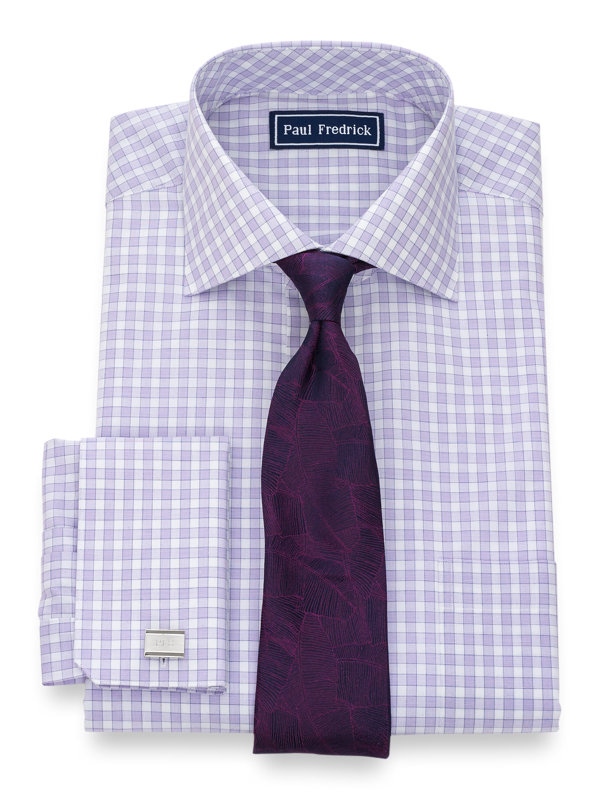 Pure Cotton Gingham French Cuff Dress Shirt