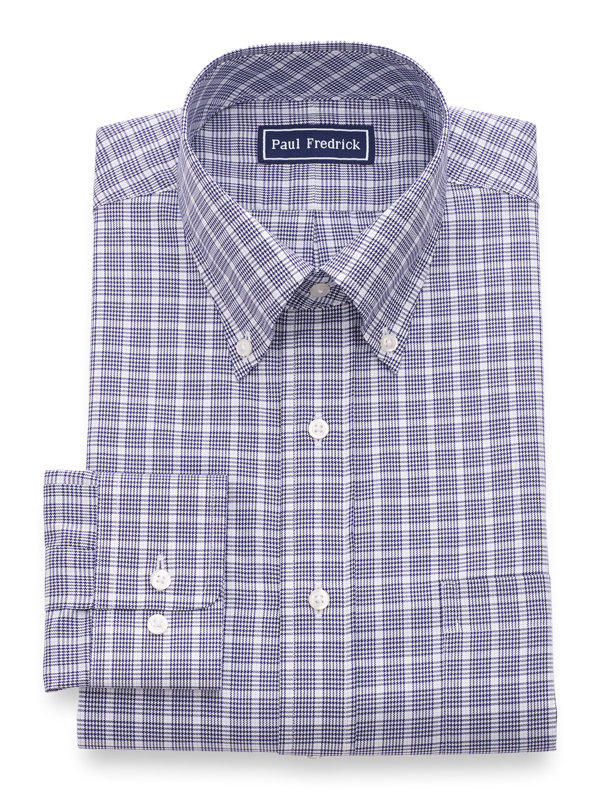Slim Fit Pure Cotton Check Button Cuff Dress Shirt