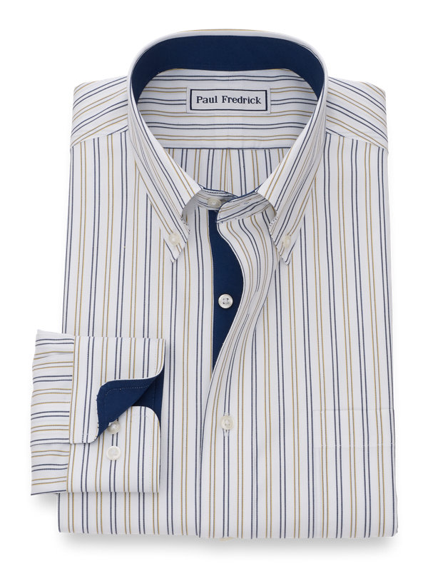 Tailored Fit Non-Iron Cotton Alternating Stripes Dress Shirt with Contrast Trim