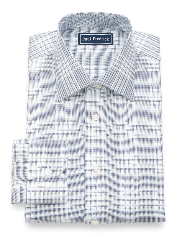 Egyptian Cotton Check Button Cuff Dress Shirt