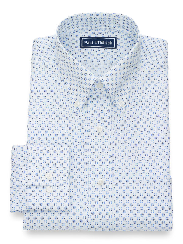 Pure Cotton Circle Print Button Cuff Dress Shirt