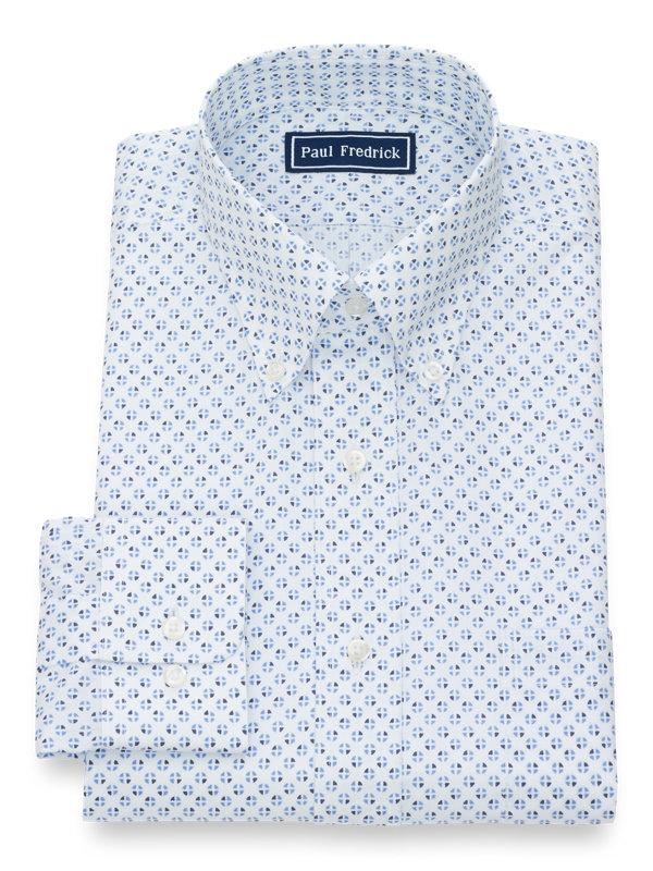 Slim Fit Pure Cotton Circle Print Button Cuff Dress Shirt