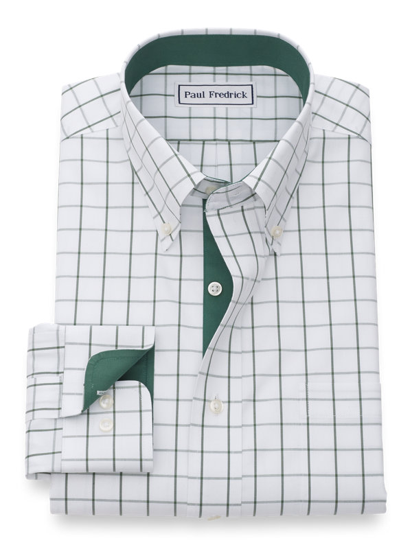 Tailored Fit Non-Iron Cotton Pinpoint Windowpane Dress Shirt with Contrast Trim