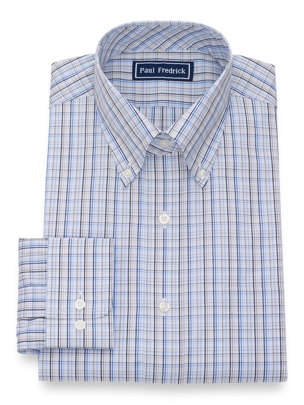 Slim Fit Pure Cotton Tattersall Button Cuff Dress Shirt
