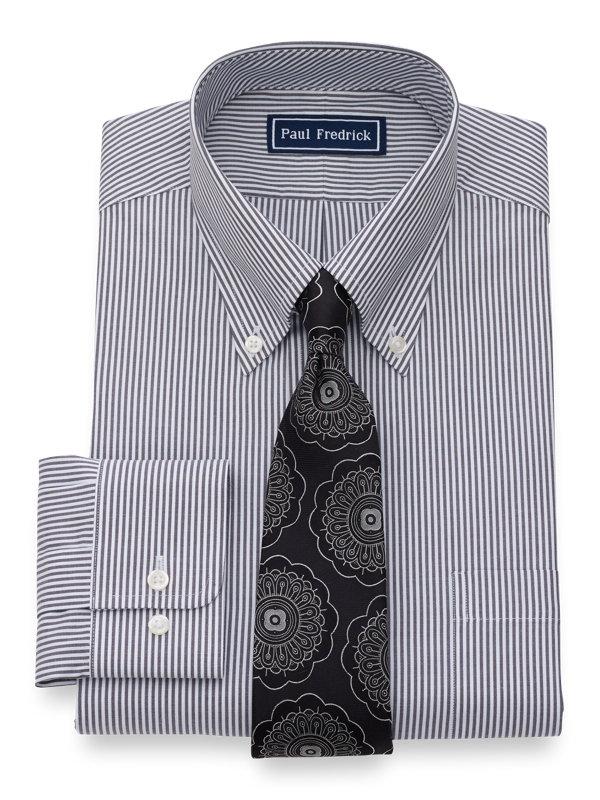 Slim Fit Pure Cotton Bengal Stripe Button Cuff Dress Shirt