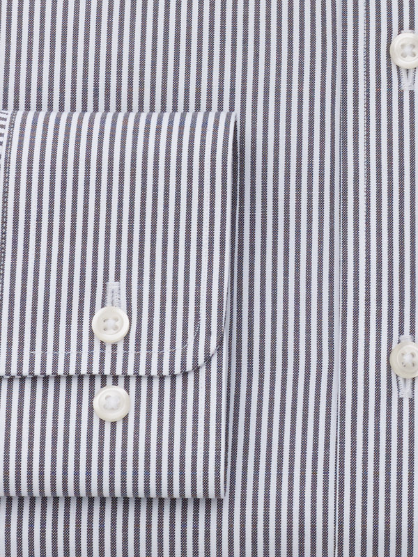 Slim Fit Pure Cotton Bengal Stripe Button Cuff Dress Shirt
