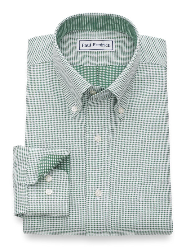 Slim Fit Non-Iron Cotton Mini-Houndstooth Dress Shirt with Contrast Trim