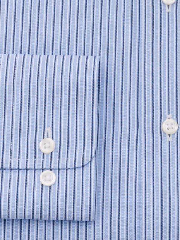 Pure Cotton Alternating Stripe Button Cuff Dress Shirt