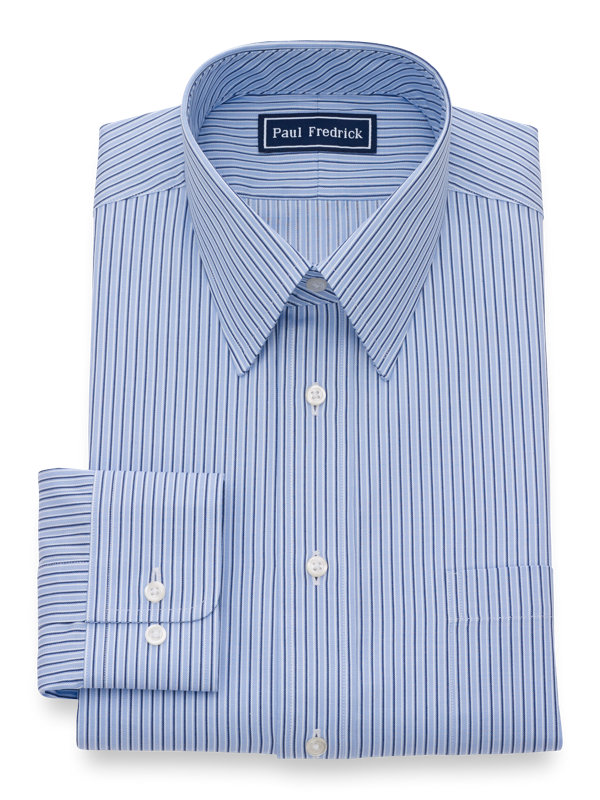 Slim Fit Pure Cotton Alternating Stripe Button Cuff Dress Shirt