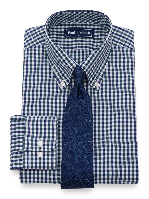Slim Fit Pure Cotton Gingham Button Cuff Dress Shirt