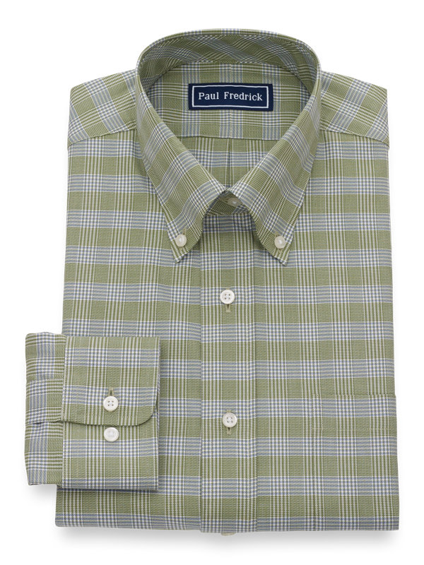 Slim Fit Pure Cotton Plaid Button Cuff Dress Shirt