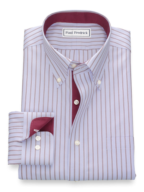 Slim Fit Non-Iron Cotton Alternating Stripe Dress Shirt with Contrast Trim