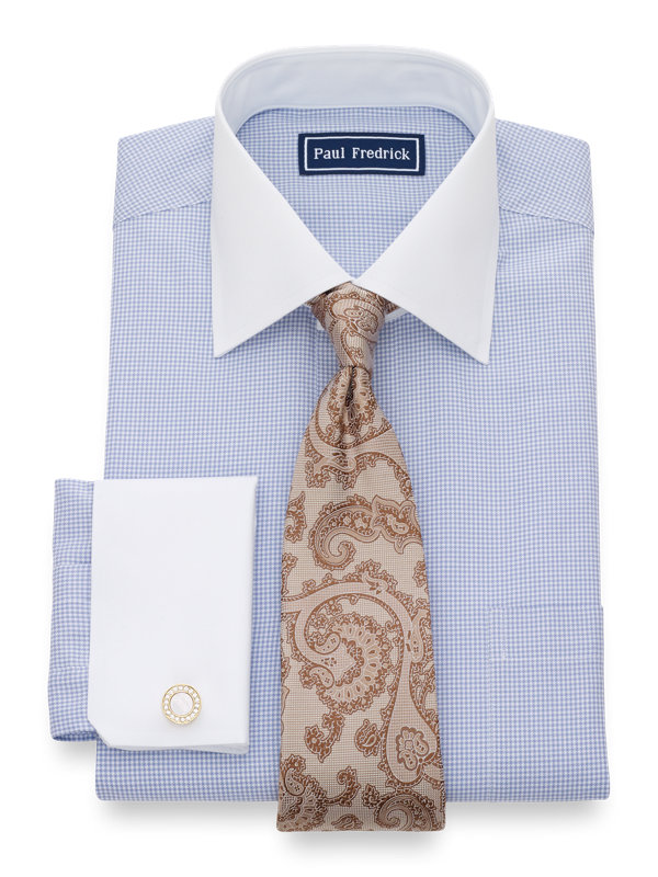 Pure Cotton Houndstooth French Cuff Dress Shirt
