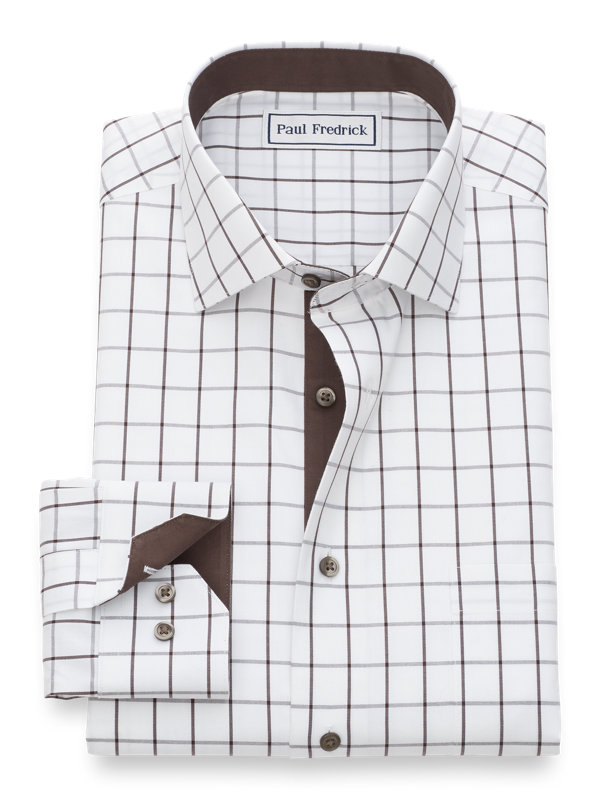 Slim Fit Non-Iron Cotton Pinpoint Windowpane Dress Shirt with Contrast Trim