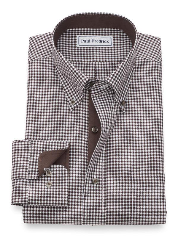 Non-Iron Cotton Mini-Gingham Dress Shirt with Contrast Trim