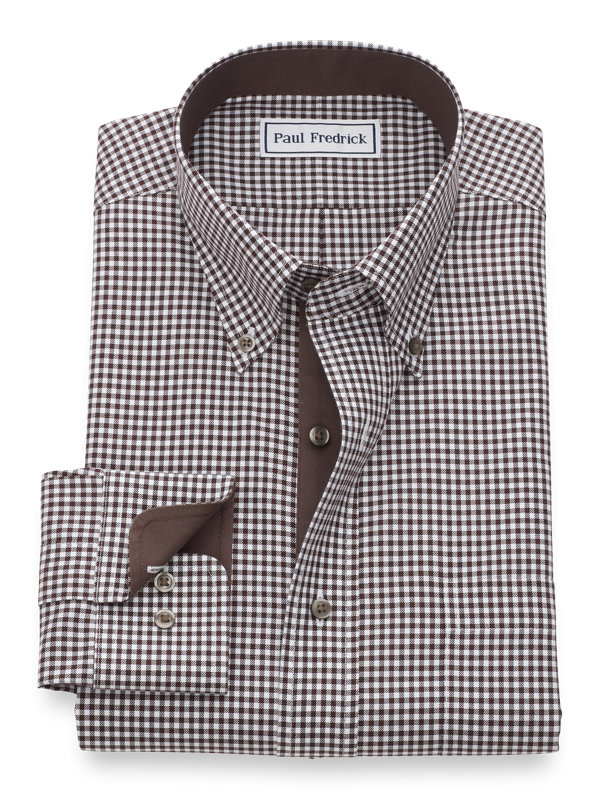 Non-Iron Cotton Mini-Gingham Dress Shirt with Contrast Trim