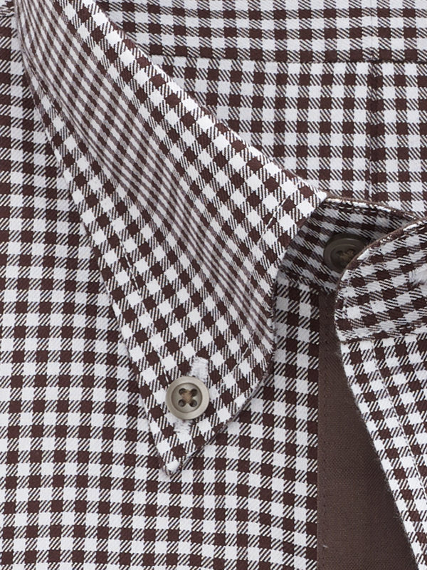 Tailored Fit Non-Iron Cotton Mini-Gingham Dress Shirt with Contrast Trim