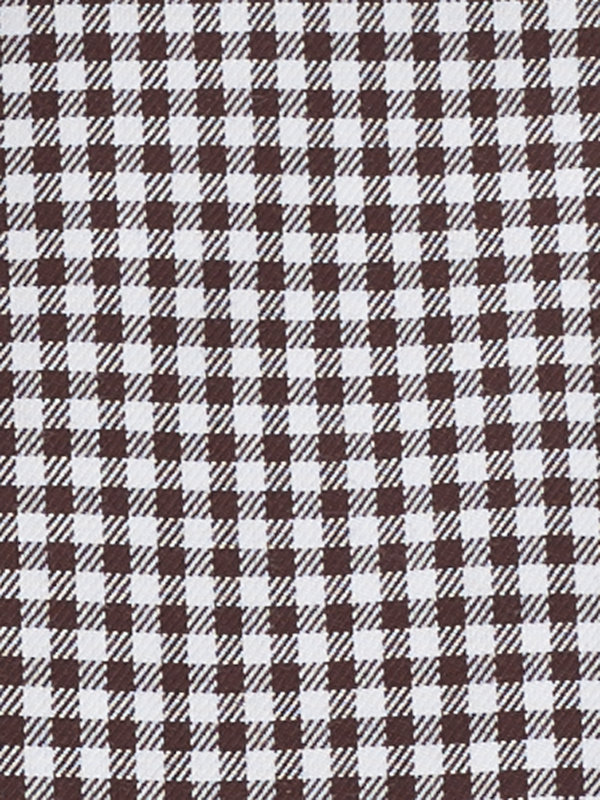 Slim Fit Non-Iron Cotton Mini-Gingham Button Cuff Dress Shirt with Contrast Trim