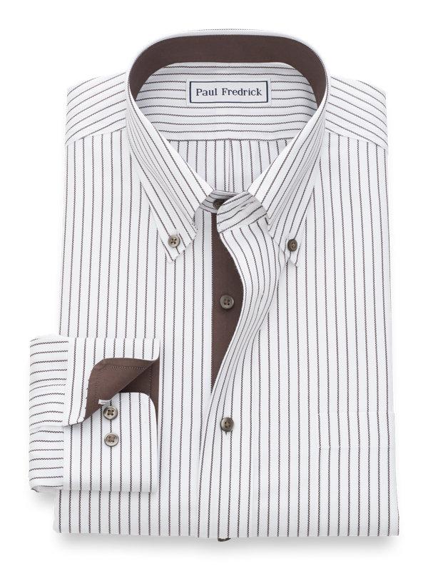 Non-Iron Cotton Textured Stripe Dress Shirt with Contrast Trim