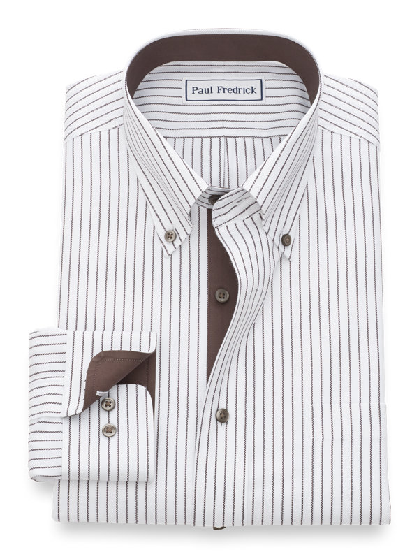 Tailored Fit Non-Iron Cotton Textured Stripe Dress Shirt with Contrast Trim