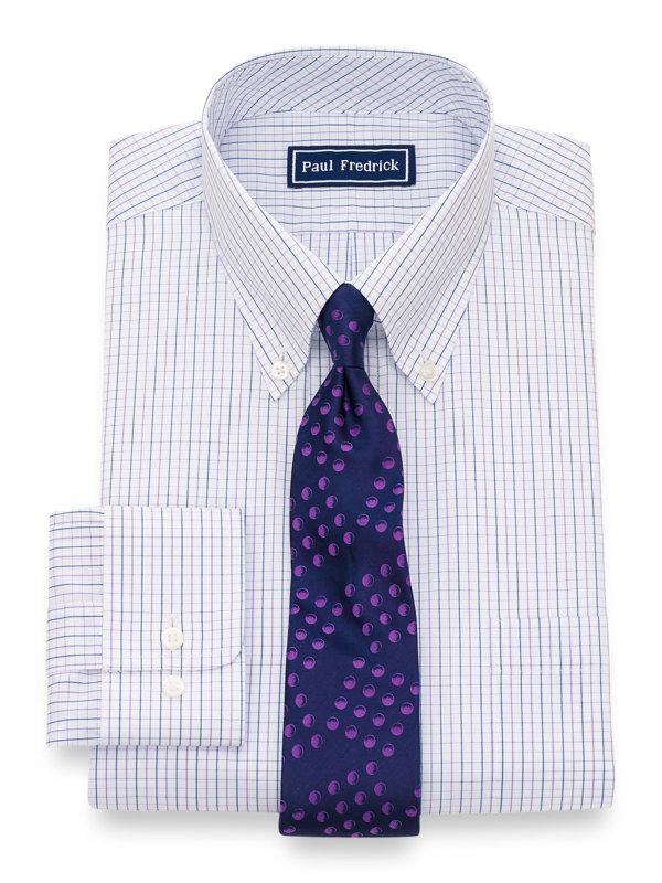 Pure Cotton Check Button Cuff Dress Shirt
