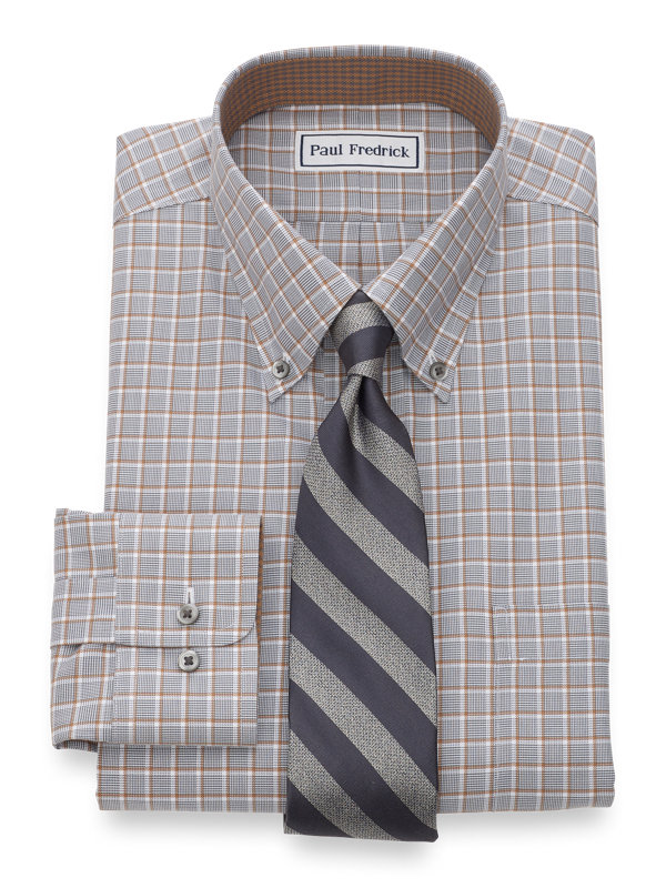 Non-Iron Cotton Broadcloth Check Dress Shirt with Contrast Trim
