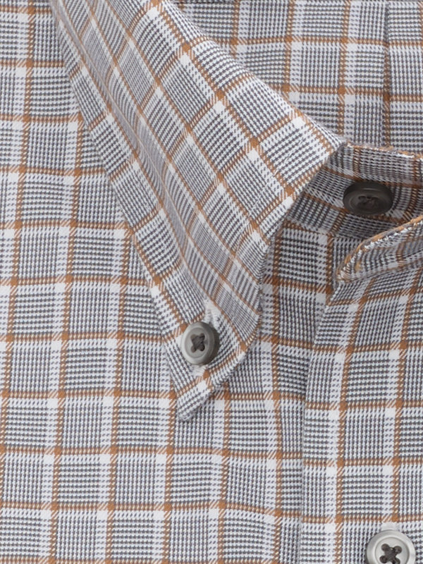 Tailored Fit Non-Iron Cotton Broadcloth Check Dress Shirt with Contrast Trim