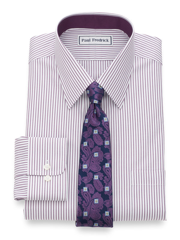 Slim Fit Non-Iron Cotton Pinpoint Bengal Stripe Dress Shirt with Contrast Trim