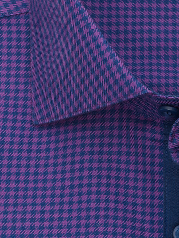 Tailored Non-Iron Cotton Houndstooth Dress Shirt with Contrast Trim