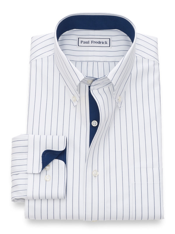 Slim Fit Non-Iron Cotton Fine Line Stripe Dress Shirt with Contrast Trim