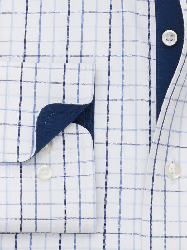 Non-Iron Cotton Pinpoint Check Dress Shirt with Contrast Trim