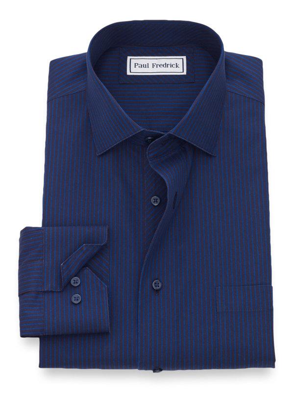 Slim Fit Non-Iron Cotton Fine Line Stripe Dress Shirt with Contrast Trim