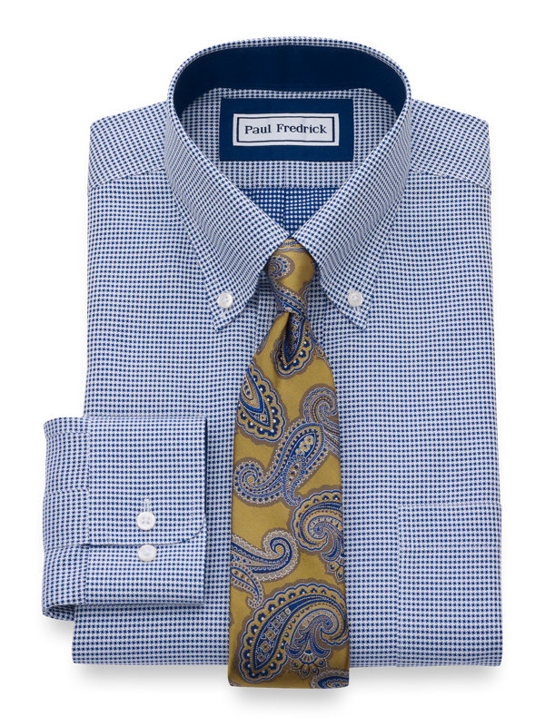 Non-Iron Cotton Mini-Houndstooth Dress Shirt with Contrast Trim