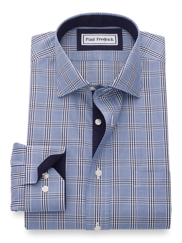 Slim Fit Non-Iron Cotton Pinpoint Glen Plaid Dress Shirt with Contrast Trim