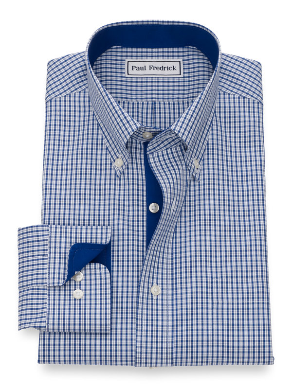 Non-Iron Cotton Pinpoint Plaid Dress Shirt with Contrast Trim