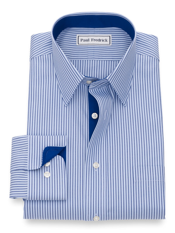 Tailored Fit Cotton Pinpoint Stripe Dress Shirt with Contrast Trim