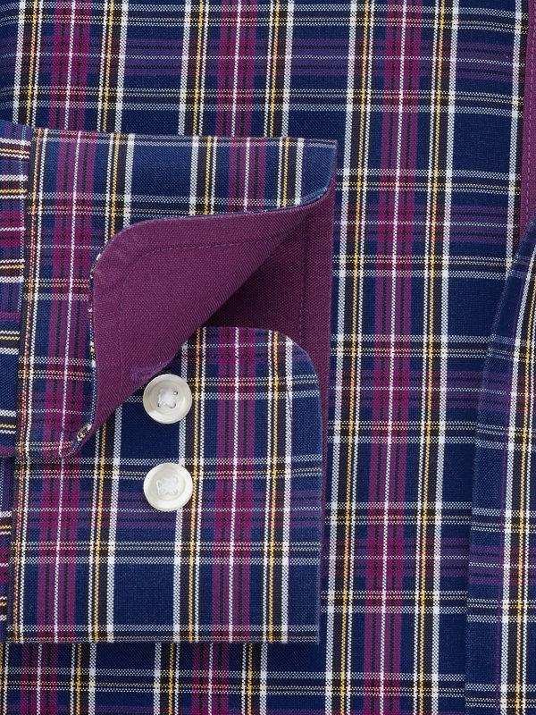 Non-Iron Cotton Pinpoint Tartan Dress Shirt with Contrast Trim
