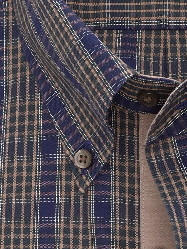 Tailored Fit Non-Iron Cotton Pinpoint Tartan Dress Shirt with Contrast Trim