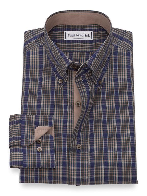 Slim Fit Non-Iron Cotton Pinpoint Tartan Dress Shirt with Contrast Trim