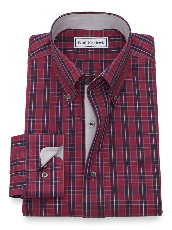 Non-Iron Cotton Pinpoint Tartan Dress Shirt with Contrast Trim